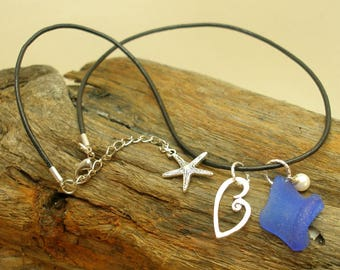 Beach Treasures That Steal My Heart--Cobalt Blue Sea Glass Necklace  747
