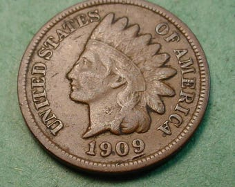 1909 Indian Head Cent Very Good / Fine FREE SH In United States # ET1099