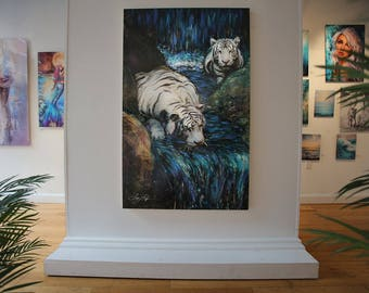 Wonder - Original Painting of White Bengal Tigers