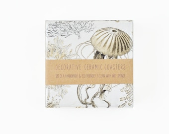 Ceramic Coasters Vintage Looking Sea Creatures Beige Neutral on White Marine Coastal Illustration, set of 4