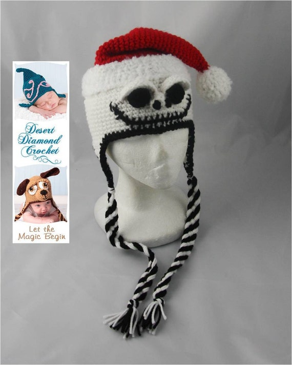 Santa Skeleton Hat - Any Size - Any Color Combo