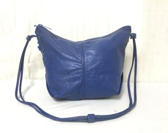 Blue Leather purse, bag, Shoulder Bag