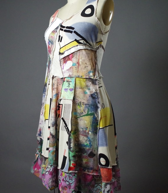 Abstract Spring Dress - Women's Summer Dress - OOAK Patchwork Dress - Upcycle Clothing -  Designer Clothing