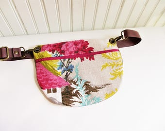 Colorful House and Trees on Taupe Ground Vintage Barkcloth Fabric Hip Bag Fanny Pack Adjustable Strap Gift for Him Her Holiday Christmas
