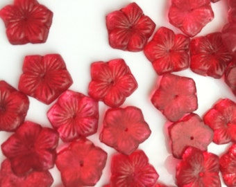 Vintage Red Glass Flower Bead - Item 242