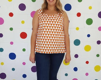 SALE Fox Print Summer Top. Triangle Print.Organic Cotton.Bow Detail. Orange Quirky Top. Sleeveless Women's Top. Made in UK. Quirky Clothing.
