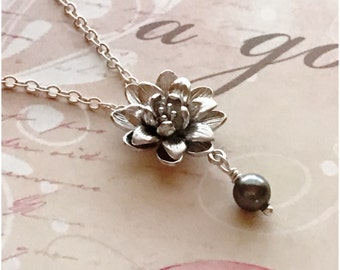 Silver Lotus Necklace - Lotus Flower Necklace - Silver Flower Necklace - Silver Pearl Necklace - Choose Color - Open Lotus - Lotus Blossom