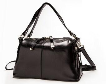 Clearance! Genuine Leather Handbag. Black Nappa Leather