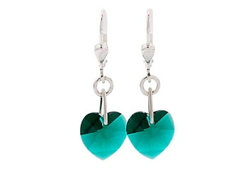 SWAROVSKI Mini Heart Sterling Silver Earrings in Emerald Green