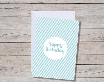 Diagonal Blue Happy Birthday Card- A6 Greeting Card, Blue Birthday Card