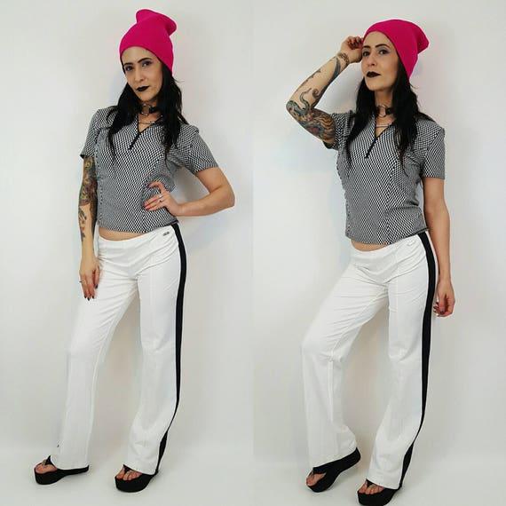 90s Black and White Checkerboard T-shirt Small Medium - 1990s Zipper Top Health Goth - Zip Up Cropped Fashion Polo - Short Sleeve Teeshirt