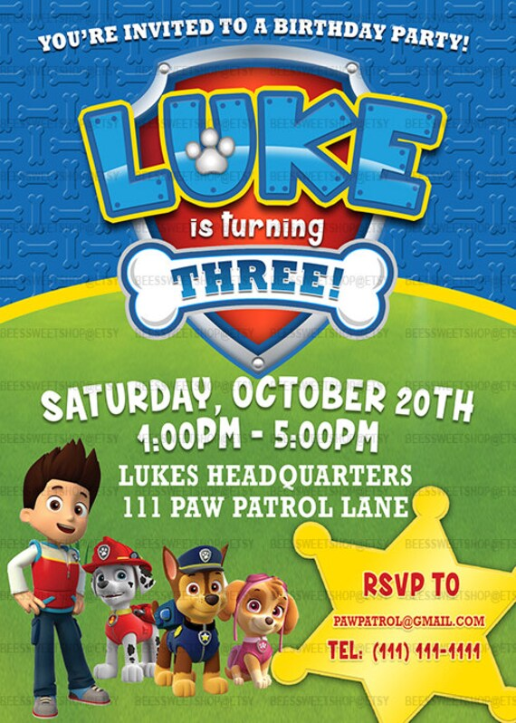 Inventive image with printable paw patrol birthday invitations