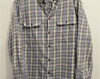 A Men's Vintage 90's,Purple & Lime Green Plaid FLANNEL Urban era Shirt By Mission Sport.L