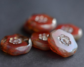 Coral Czech Glass Beads / Rustic 14mm Picasso Daisy Bead / Czech Jewelry Findings