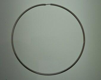Big hoop earrings 2mm sterling silver, size 80mm
