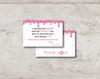 Donut Themed Birthday Thank You Card | 4x6 or 5x7 | Multiple File Options | Digital Download | Personalized with your Details | Pink | Sweet