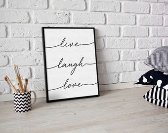 live laugh love print - quote print - living room print - new home print - wedding print - wall art print - love print - mothers day print
