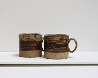 Vintage Tue Poulsen coffee cup set. Danish mid-century ceramics from the 1970's