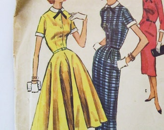 50s McCalls 3720 Flared or Slim Dress with Detachable Collar and Cuffs - Size 12 Bust 30