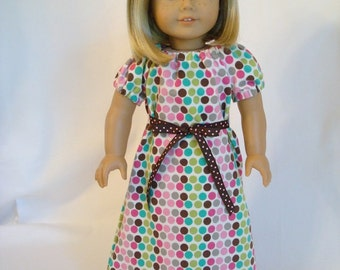 Polka Dot Nightgown for American Girl Doll and 18-inch Dolls - Bitty Baby Doll Polka Dot Knit Summer Nightgown