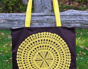 Brown Tote with and Yellow Crocheted Doily Detail