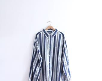 Blue Striped 90s Button Down Shirt