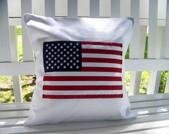 free shipping - american flag pillow - memorial day - fourth of july - July 4th - americana - canvas - red white and blue - patriotic