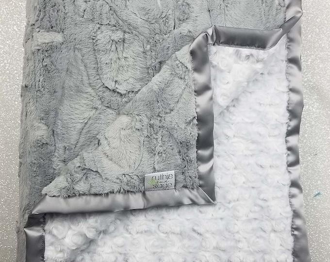 Minky Blanket, baby girl, blanket for girl, grey and white, silver and white, soft blanket, Luxe Silver Hide, Plush minky blanket, rose mink