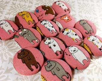 Large Buttons - Clothesline Cats - Animal Fabric Covered Buttons - Round Feline Fabric-Covered Buttons - Clothespin Sleepy Cat Button Set
