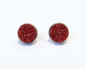 Red stud earrings, Red Faux Druzy, Red Druzy earrings, Ruby Red studs, Druzy Studs, hypoallergenic studs, 12mm studs, stainless steel studs