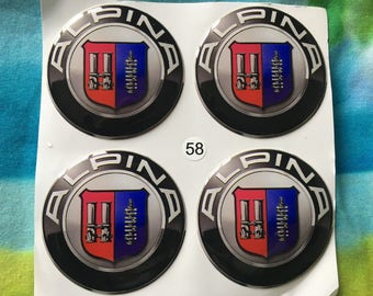 """On Sale now!!! 4 pcs. set. """"BMW-Alpina"""" 58mm. white&black,blue wheel Centre stickers, badges ,emblems"""