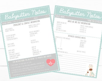 PRINTABLE- INFANT Teal Emergency Contacts & Schedule Information- Parent Babysitting Printable