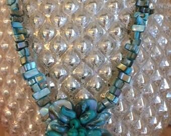 Turquoise abalone flower beaded Necklace