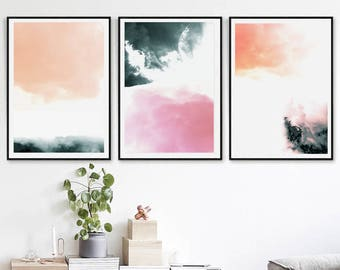 Abstract Poster Minimalist Print Set of 3 Prints Modern Art Downloadable Pink Bedroom Simple Art Dorm Room Neutral Wall Art Triptych Art