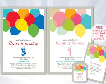 Balloon invitation - balloon birthday party - boy girl invitation - pink blue invitation - personalized - printable