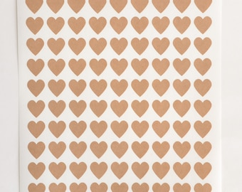 Heart Stickers, 108 Stickers, Kraft Stickers, Envelope Seals, Self Adhesive Stickers Labels, Wedding Invite Seals, Packaging