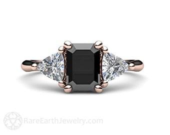 Black Diamond Engagement Ring Emerald Cut Three Stone Vintage Style 3 Stone Ring 14K or 18K Gold Platinum with Trillion Diamonds