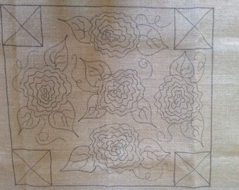 """Antique Roses Pattern for 'our"""" Queen Anne style footstool base"""
