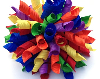 Large Rainbow Korker Hair Bow