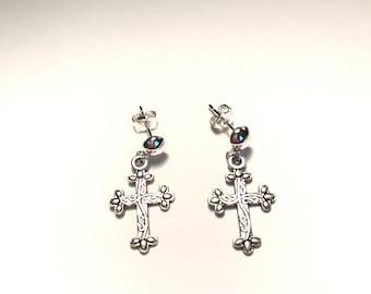 Cross Earrings,Silver Plated Cross Earrings,Post Earrings,Catholic Earrings,Religious Earrings,Spiritual Earrings,Catholic Gifts,Cross Gifts