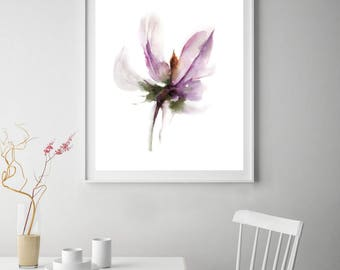 Minimalist abstract flower fine art print, Abstract Botanical Watercolor Painting Print, Minimalist Wall Print