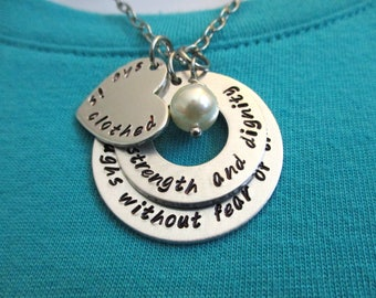 Proverbs 31:25 She is clothed in strength and dignity - Hand stamped stacked washer necklace - Christian necklace -  Mother of the Bride