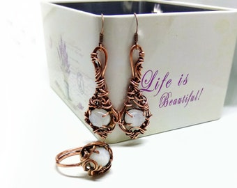 Copper wire wrapped jewelry set with moonstone birthstone Moonstone ring Moonstone earrings Wire wrap rustic womens gift Birthday mom gifts