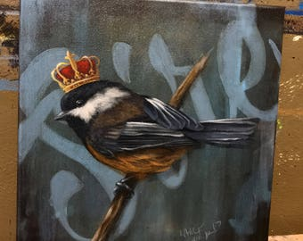 "Sire black capped chickadee with crown/ original acrylic painting on canvas 14""x16"