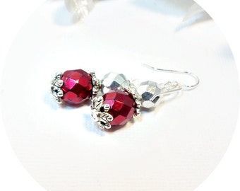 Red and Silver Earrings, Bridesmaid Jewelry, Red and Silver Wedding