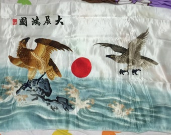 """Vintage Large Chinese silk hand embroidered panel Asian tapestry Eagle bird 46""""x 28"""" 1970s"""