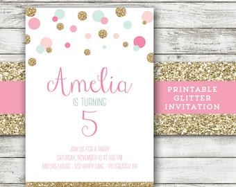 Mint Gold Pink Invitation Polka Dot Girl Birthday Invitation Glitter Invite