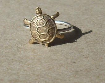 Turtle- Sterling Silver and copper -Stacking Ring
