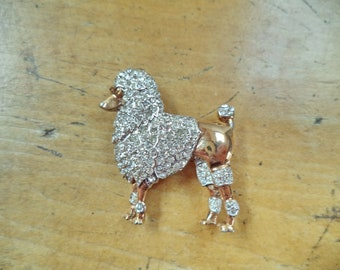 Vintage Signed Crown Trifari Sterling Gold Plate Crystal Rhinestone Poodle Dog Brooch Pin Figural Animal Jewelry