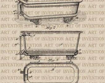 CLAW FOOT TUB 594, vintage patent illustration, design drawing, bathtub